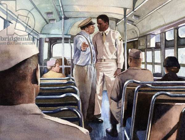 Jackie Robinson boarding an army bus, 2007 (w/c on paper)