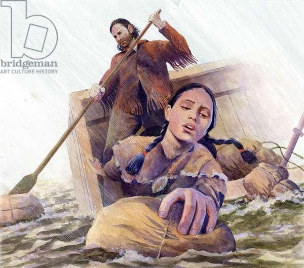 Sacagawea saving supplies, 2002 (acrylic on board)