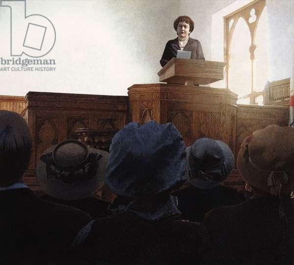Elizabeth Cady Stanton at the Seneca Falls convention, 2004 (w/c on paper)