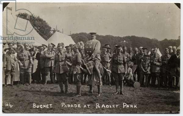 """Soldiers at a """"Bucket Parade"""" in Ragley Park. Circa 1915"""