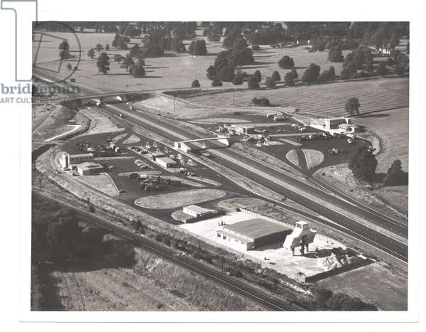 The Blue Boar services on the M1 motorway under construction, 1959 (b/w photo)