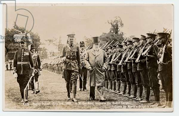 King Edward VII inspects the cadet corps at Rugby School, 1909 (b/w photo)