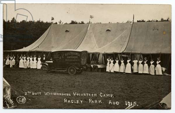 The 3rd Battalion Warwickshire volunteer camp catering staff at Ragley Park, Arrow, in August 1915.