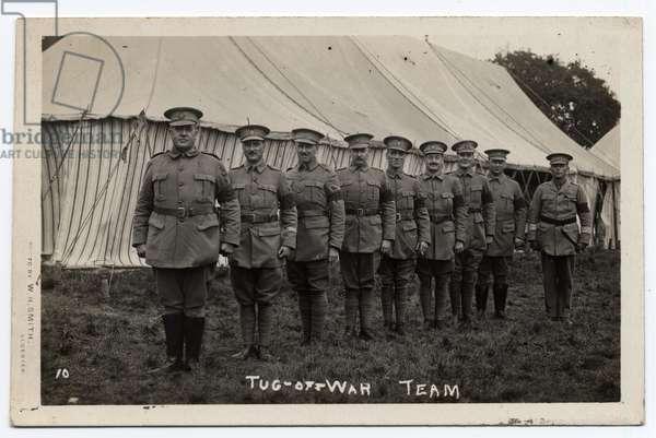 Army tug of war team in Ragley Park, Arrow. Circa 1915