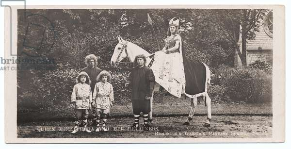 Warwick Pageant: Page Boys - Arthur Hanson (left); Walter Friend (right); Queen Ethelfleda - Gertrude Dickens, 1906 (b/w photo)