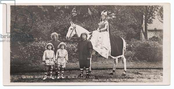 Warwick Pageant: Page Boys - Arthur Hanson (left); Walter Friend (right); Queen Ethelfleda - Gertrude Dickens, 1906 (b/w photo)