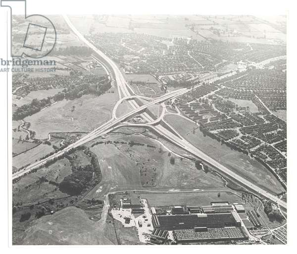 The junction on the newly constructed Kenilworth Bypass, 1950s (b/w photo)