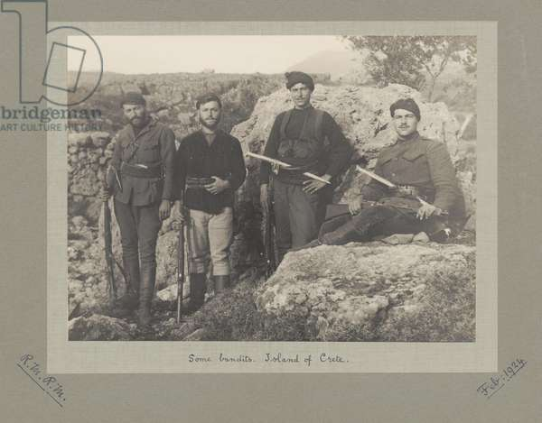 Bandits in the mountains of Crete, February 1924 (b/w photo)