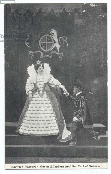 Warwick Pageant: Queen Elizabeth and the Earl of Sussex, 1906 (b/w photo)