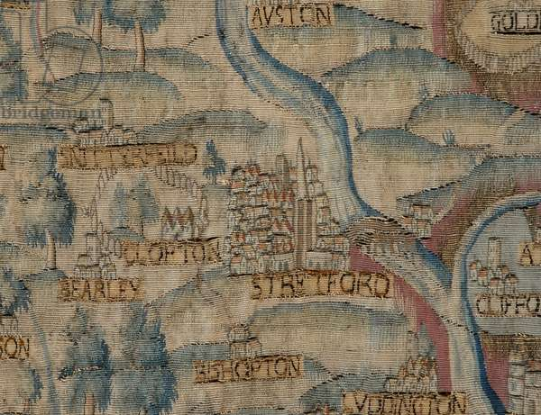 The Sheldon Tapestry, showing detail of Stratford upon Avon town and area, c.1590-1600 (tapestry)