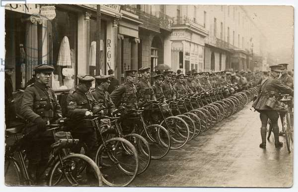 Gloucester Cycle Regiment lined up with their bicycles in The Parade. 1914-18