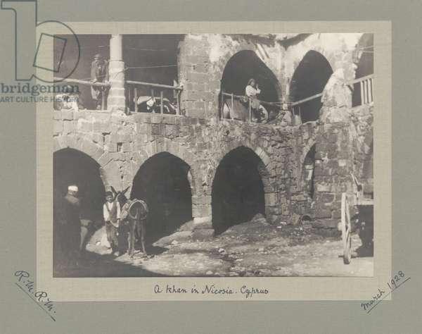 A khan in Nicosia, Cyprus, March 1928 (b/w photo)
