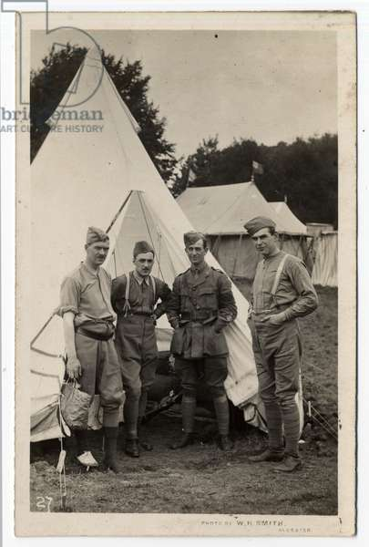 Four soldiers standing in front of a tent at Ragley Park, Arrow. Circa 1915