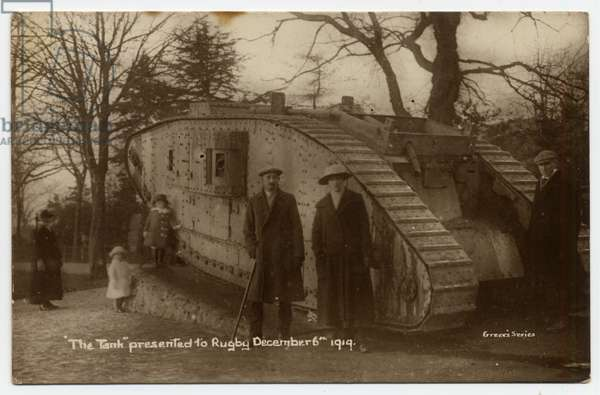 'The Tank' presented to Rugby from the 1914-18 war, 6th December 1919. The card was sent from Rugby to Brussels, Belgium early in 1920.