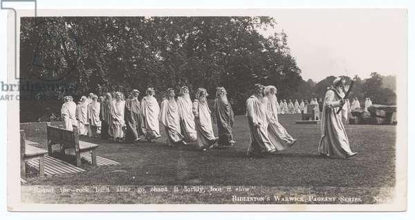 Warwick Pageant: 'Round the rock built altar go, chant it darkly, foot it slow', 1906 (b/w photo)