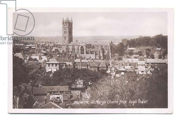 St Mary's Church, taken from Guys Tower, Warwick, 1908 (b/w photo)