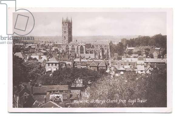St Mary's Church, taken from Guys Tower, Warwick, 1908 (b/w photo)