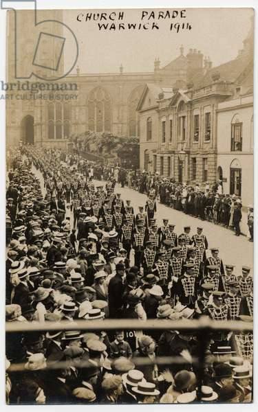 Troops marching in Church Street, Warwick. Probably after a church parade. 1914