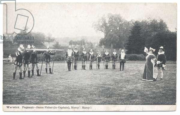 """Warwick Pageant: Dame Fisher (to Captain), """"Mercy! Mercy!"""", 1906 (b/w photo)"""