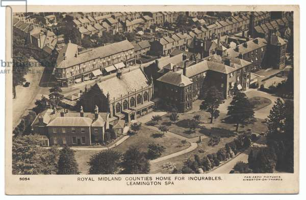 Aerial view of Royal Midland Counties Home for Incurables, Leamington Spa, 1930s (b/w photo)