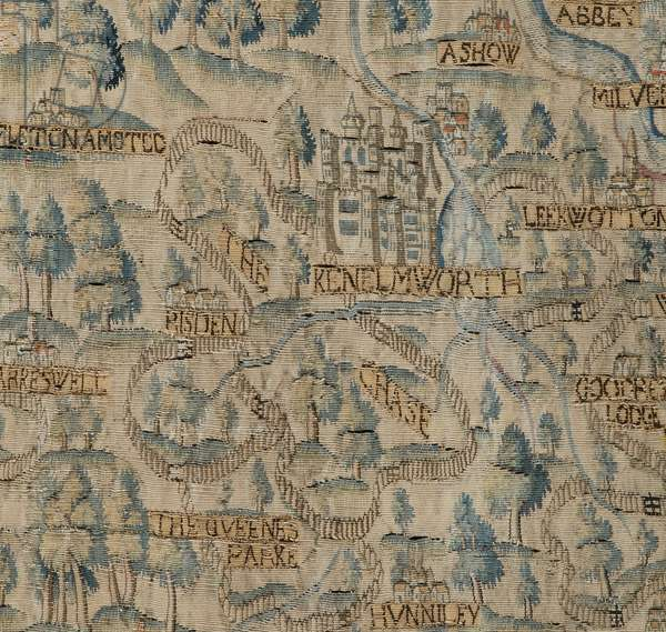 The Sheldon Tapestry, showing detail of Kenilworth and Deer Park, c.1590-1600 (tapestry)