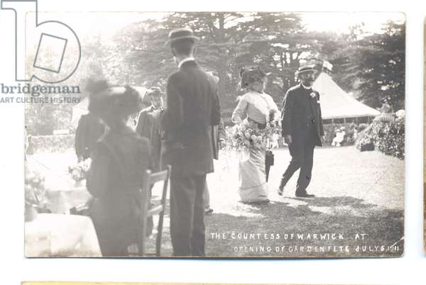 Countess of Warwick at the opening of Garden Fete, 1911 (b/w photo)