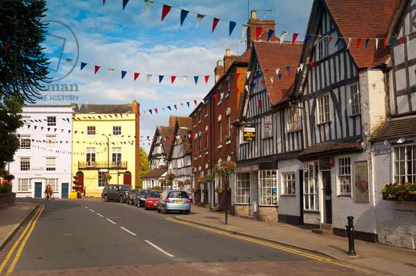 Alcester High Street with bunting, Warwickshire, 2011 (photo)
