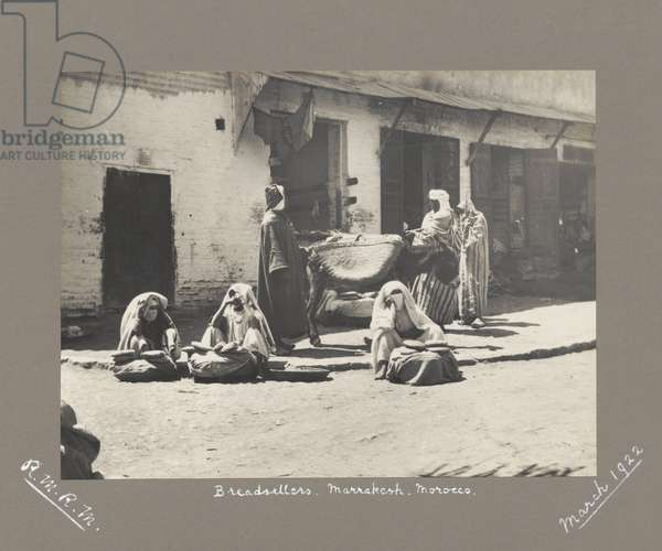 Bread sellers, Marrakesh, Morocco, March 1922 (b/w photo)
