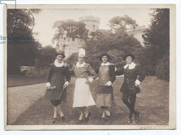 Warwick Pageant: Four Men of Windsor - Cook, chef and 2 others, 1906 (b/w photo)