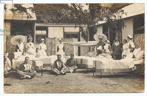 Clopton Ward, Stratford upon Avon Hospital, 1917-18 (b/w photo)