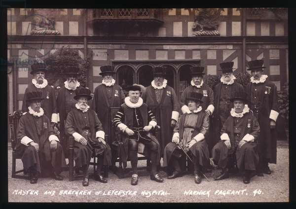Lord Leycester Hospital Master and Brethren in robes for Warwick Pageant, 1906 (b/w photo)