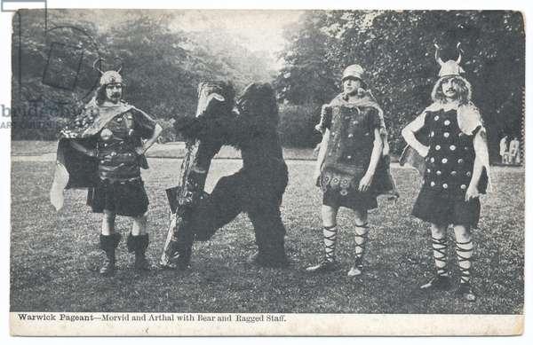 Warwick Pageant: Morvid and Arthal with bear and ragged staff, 1906 (b/w photo)