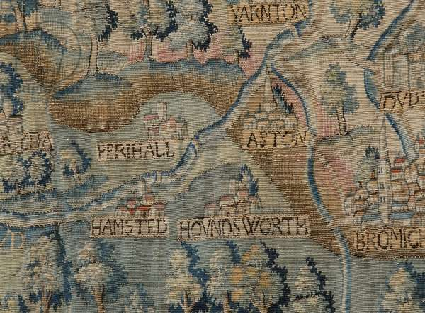 The Sheldon Tapestry, showing detail of Perry Hall, Aston and area, c.1590-1600 (tapestry)