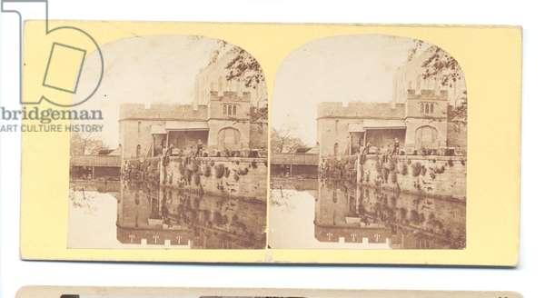 Water Mill, Warwick Castle, Warwickshire, 1860 (b/w photo)