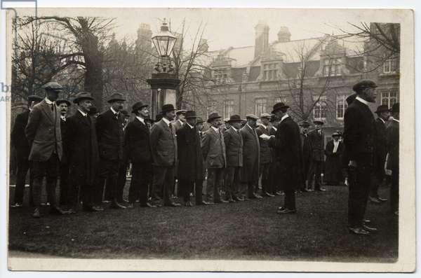 Roll call, Volunteer training corps? Regent Grove, Leamington Spa. circa 1914.