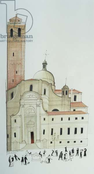 Chiesa di Santi Geremia e Lucia, Venice (coloured conte drawing)