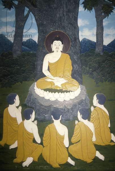 Buddha seated under the Bo Tree with his disciples, from a temple (wall painting)