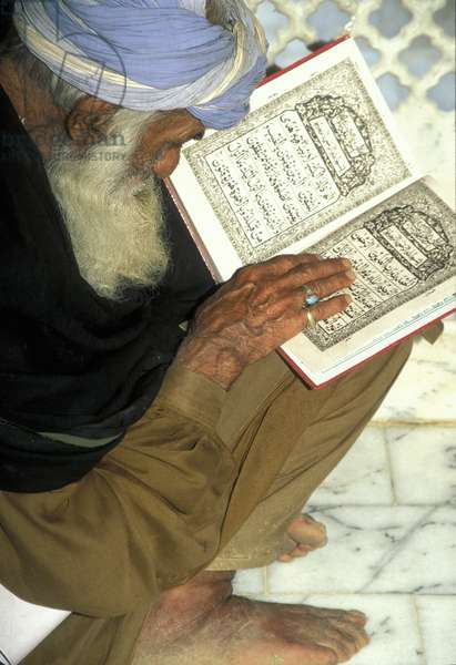 Muslim man reading from the Quran at the Madhu Lal Hussain shrine (photo)