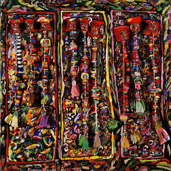 Beads Hung over Board (oil on board)