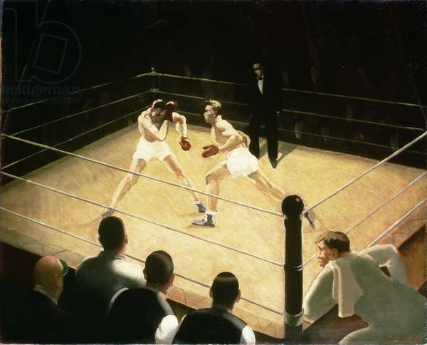 A Boxing Tournament, c.1930's (oil on canvas)