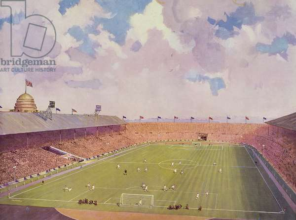 F.A. Cup Final, Manchester United v. Aston Villa, pub by the Wiggins Teape Group, 1957 (litho)