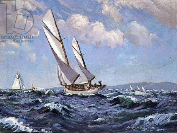 Rounding the Buoy (oil on canvas)