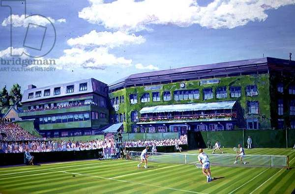Wimbledon Men's Doubles, an outside court with view of Centre Court, II (oil on canvas)