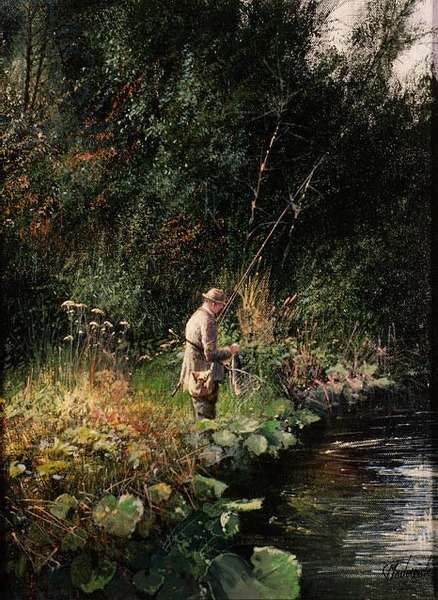 Trout Fishing (oil on canvas)