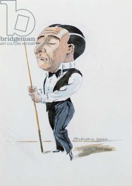 Portrait of Melbourne Inman (1878-1951) billiard champion 1912-14, 1919 (w/c on paper)