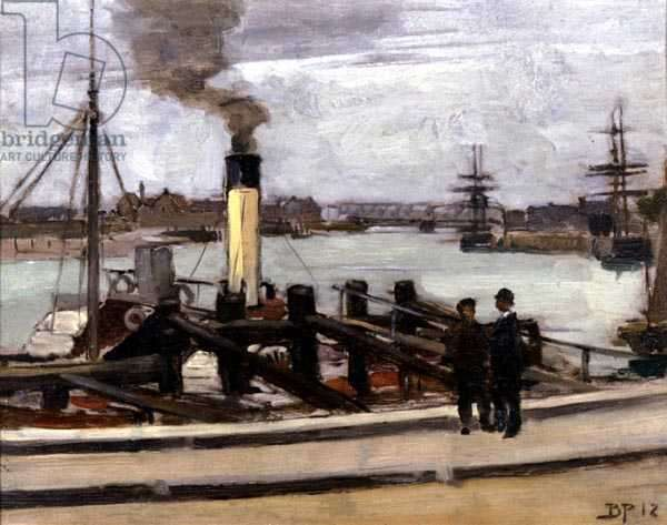 Thames Shipping, 1912 (oil on canvas)