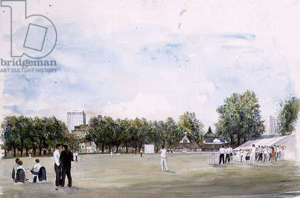 Cricket at Vincent Square, July 1990 (w/c on paper)