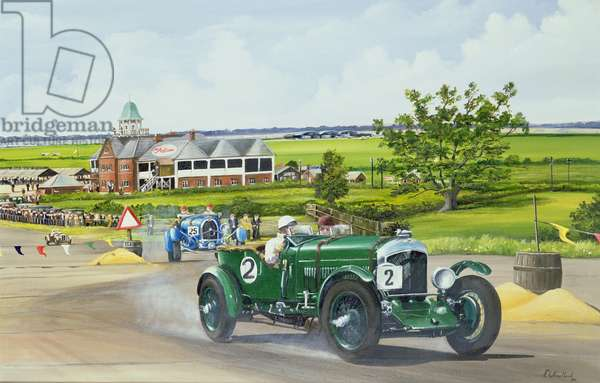 Speed Six Bentley at Brooklands 1930, 1986 (oil on canvas)