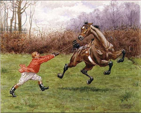 Huntsman with a Temperamental Horse, 1896 (w/c on paper)
