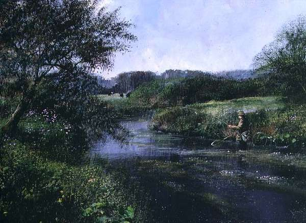 Evening Fishing (oil on canvas)